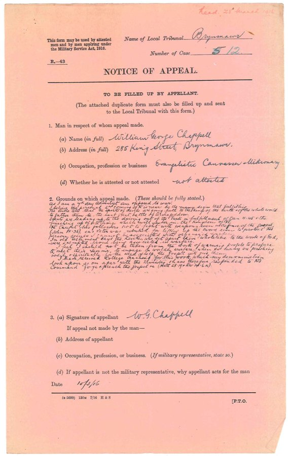William George Chappell exemption appeal